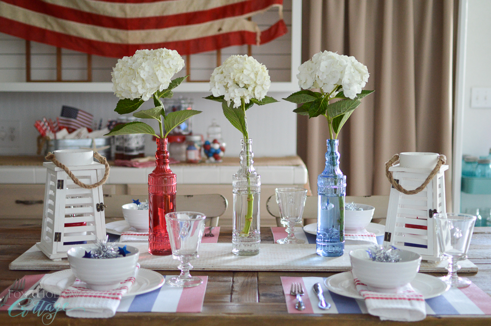 Red, White And Blue, Cottage Farmhouse 4th Of July Farm Table Decorating  Ideas