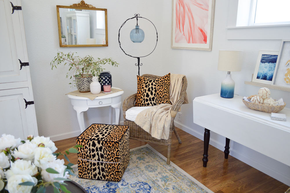 Living Room Makeover Reveal (at The Little Cottage) Coastal Cottage Guest House, Tonic Living Bianca Leopard Pillow and Ottoman Accents