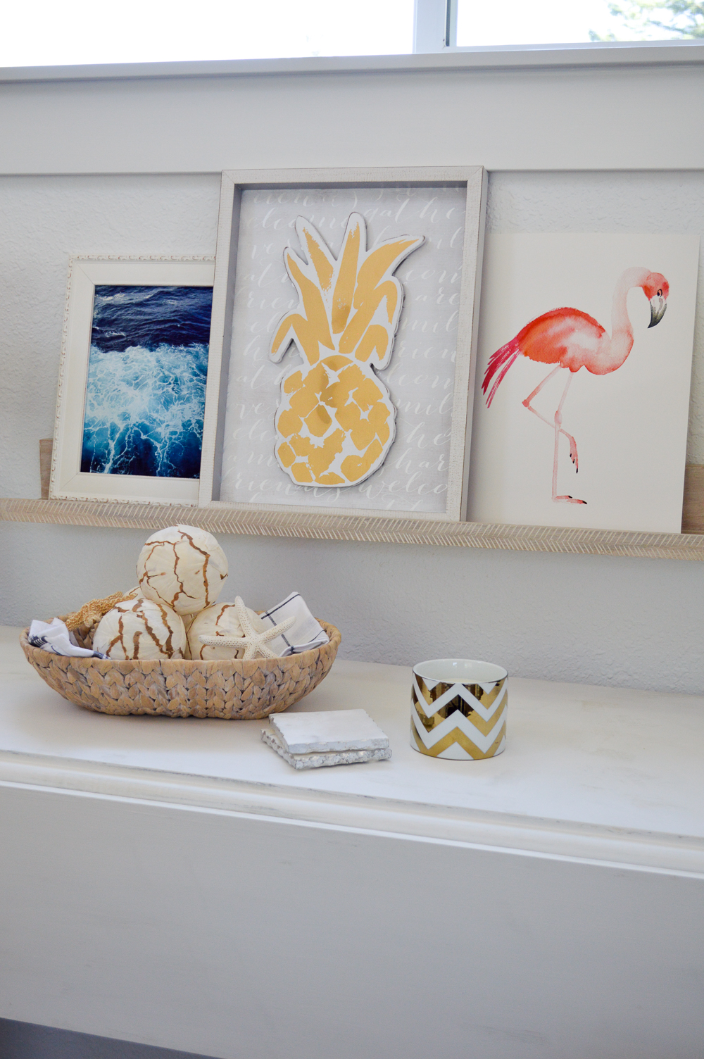 Living Room Makeover Reveal (at The Little Cottage)               Floating display art shelf, coastal and Flamingo art.