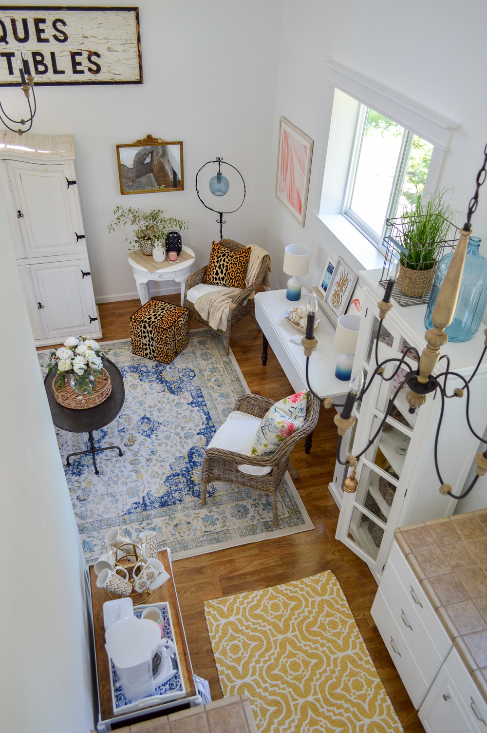 Living Room Makeover Reveal (at The Little Cottage) Guest Cottage Decorating Ideas - Mix Vintage, Cottage, Farmhouse with Modern Prints & Colors!