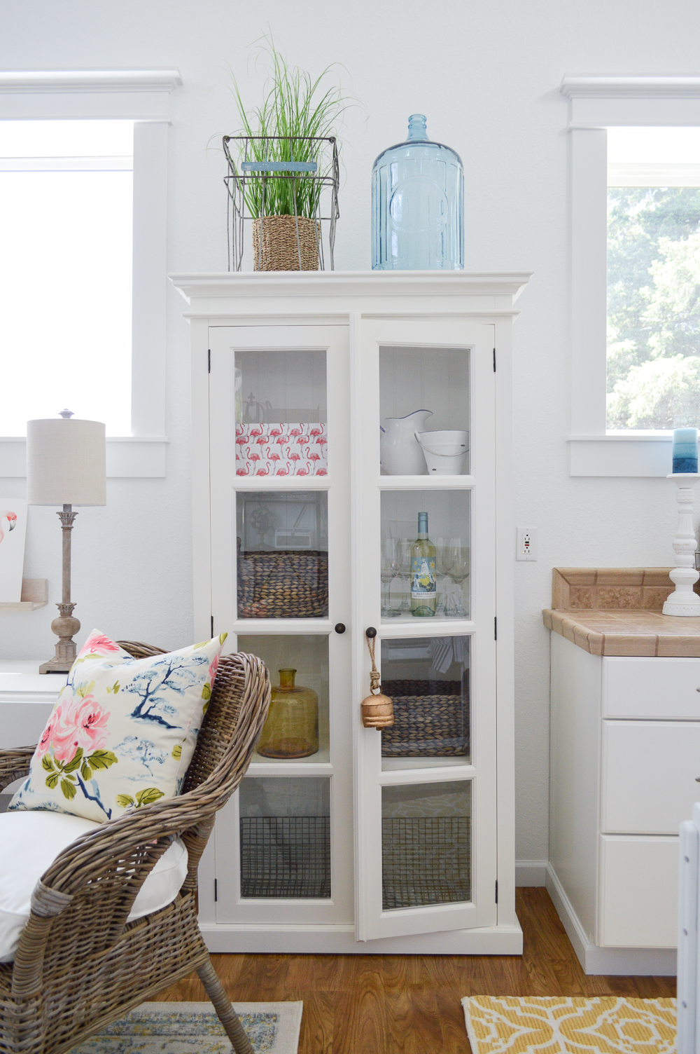 Living Room Makeover Reveal (at The Little Cottage) Double Door Glass Front Cabinet - White French Cottage Farmhouse Furniture Decor Decorating