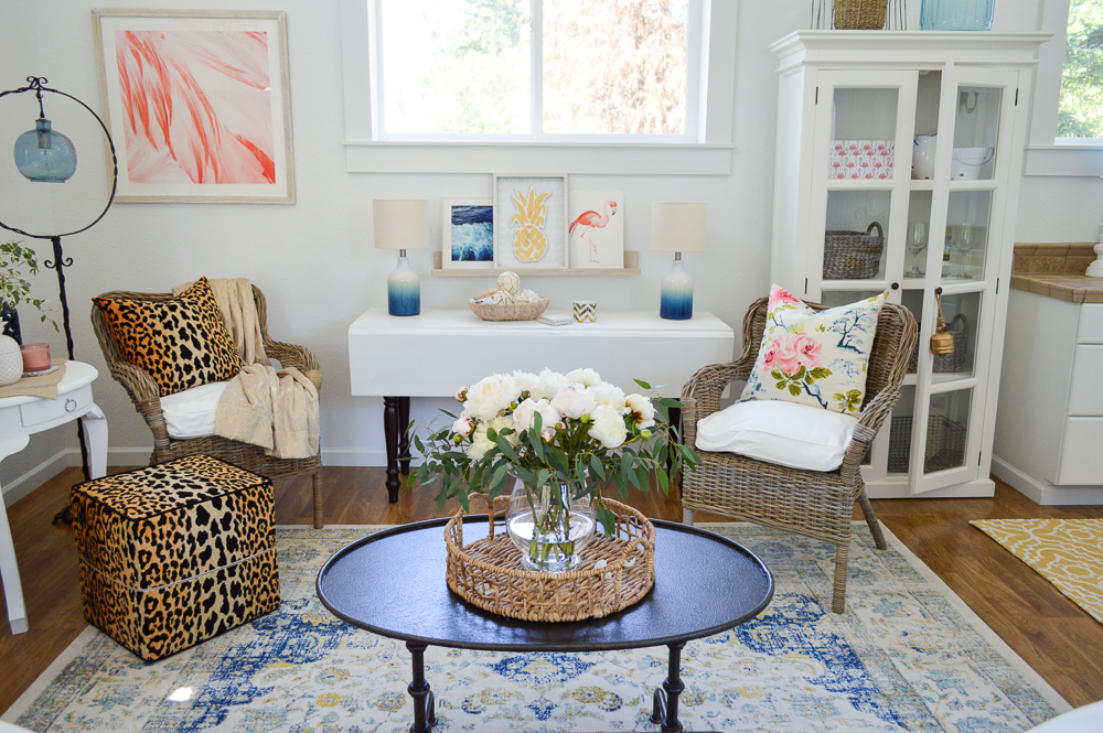 Living Room Makeover Reveal (at The Little Cottage) Colorful Guest Cottage - featuring Flamingo pink and Leopard prints.