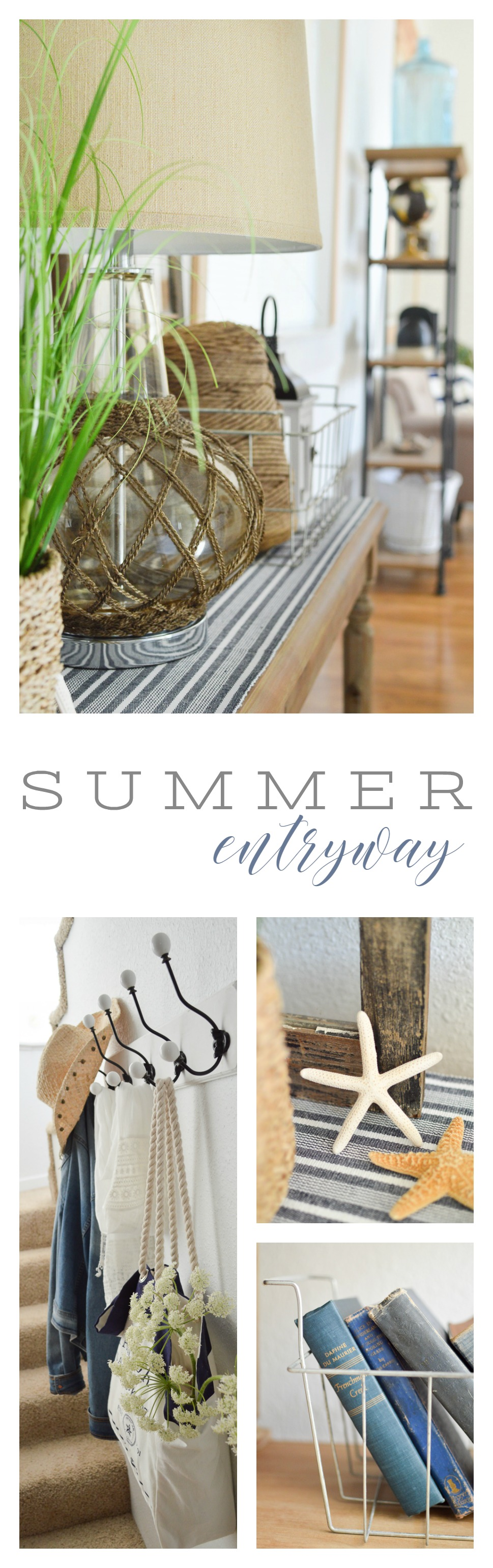 Summer Entryway Nautical Coastal Decorating - The Little Cottage at foxhollowcottage.com - #SummerEntryWay