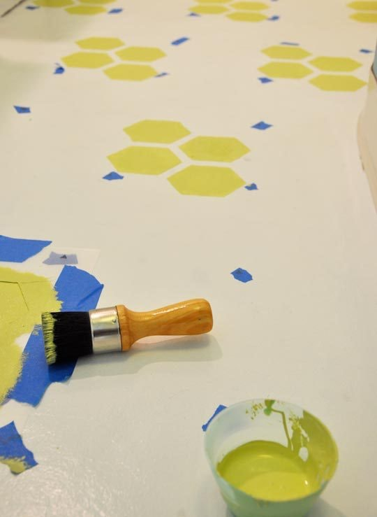 How To Repaint & Stencil Ugly Vinyl Flooring