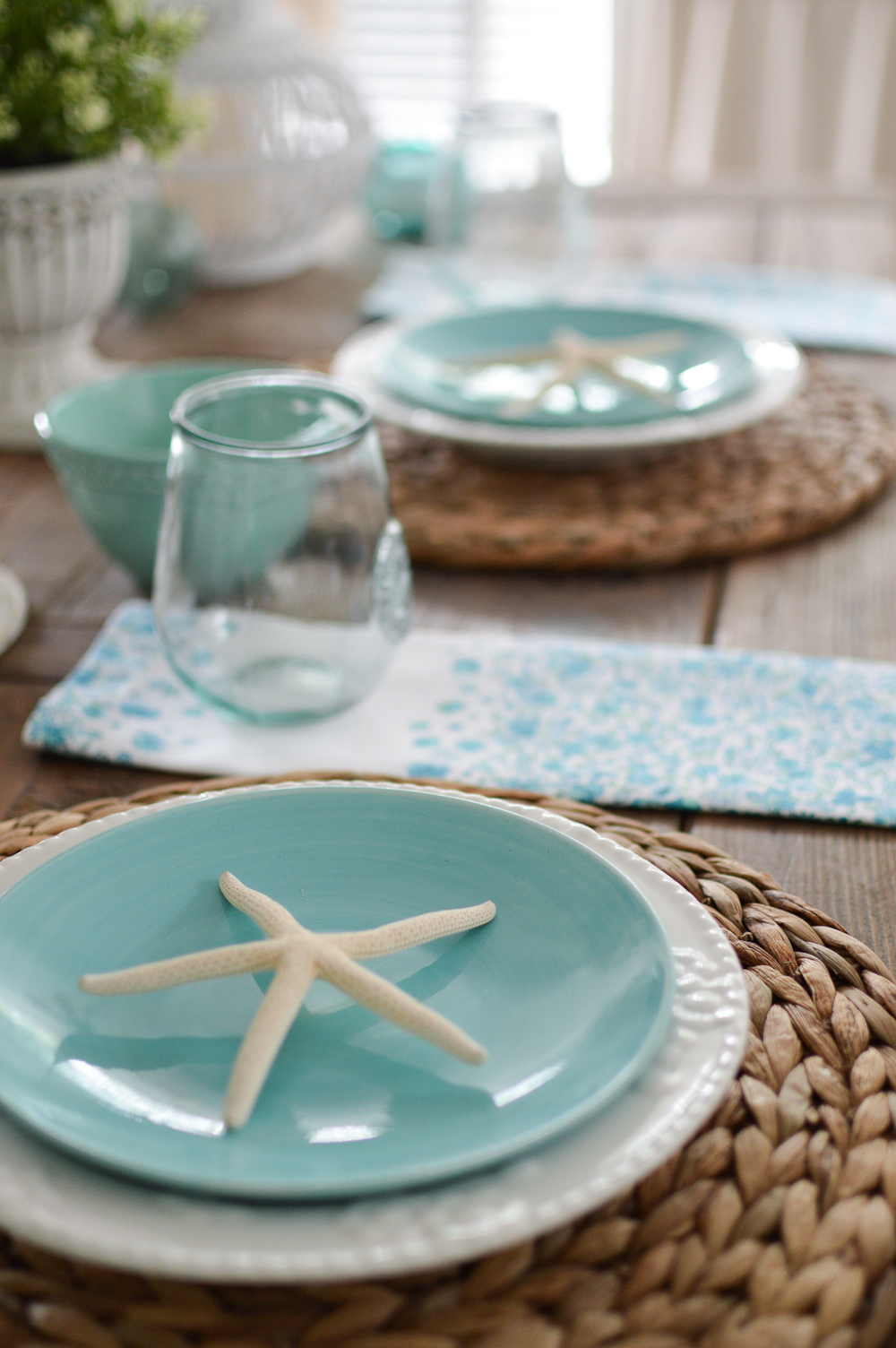 Coastal Cottage Farm Table Decorating Ideas   Www.foxhollowcottage.com    Summer Tablescape
