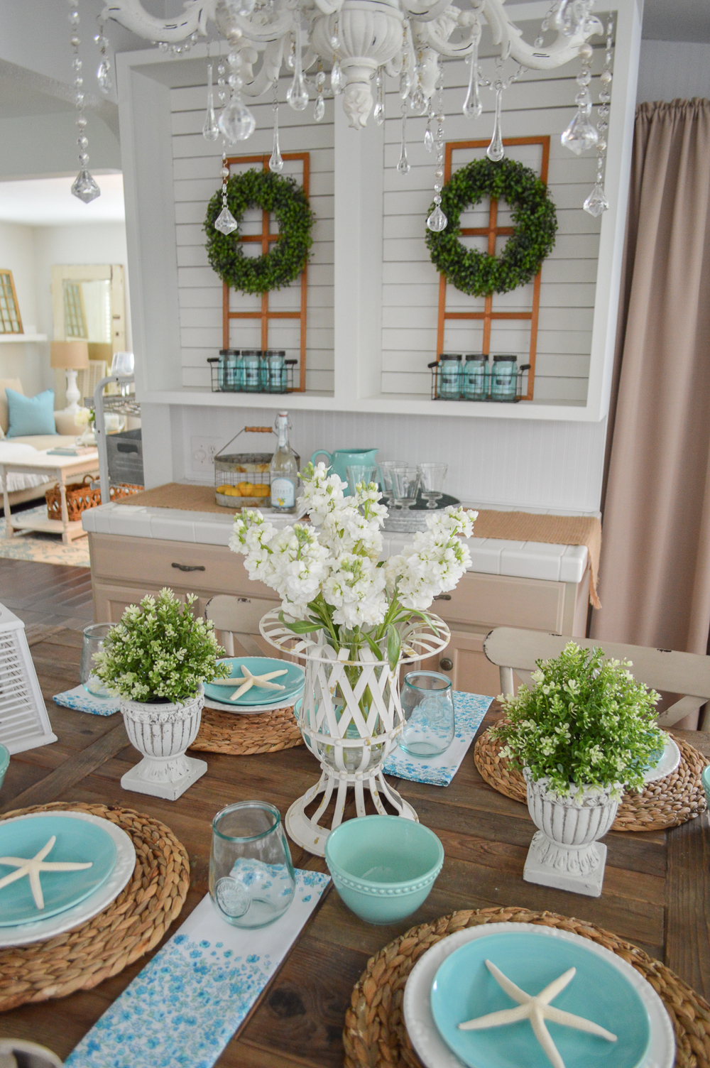 Aqua Summer Farm Table Decorating