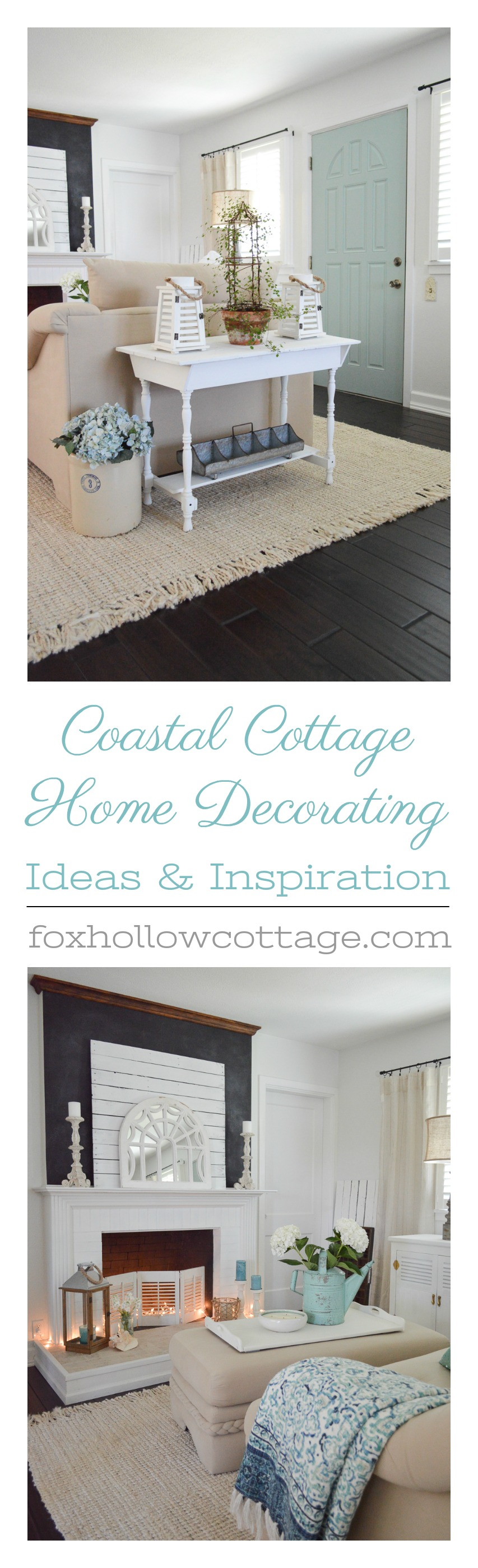 Home decorating ideas with coastal, cottage-farmhouse style and vintage touches www.foxhollowcottage.com