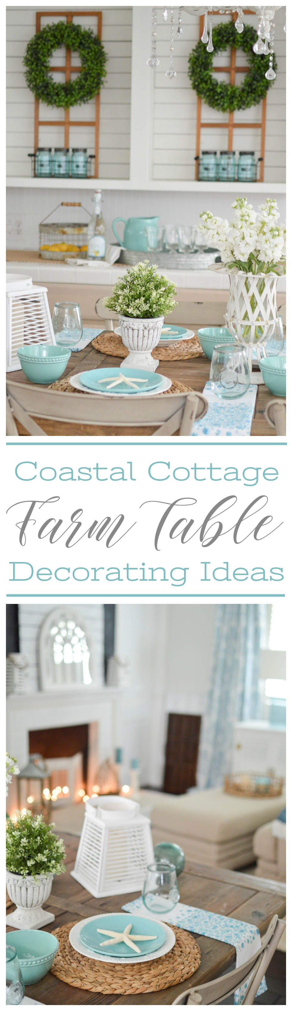 Coastal Cottage Farm Table Decorating Ideas - www.foxhollowcottage.com - Summer Tablescape