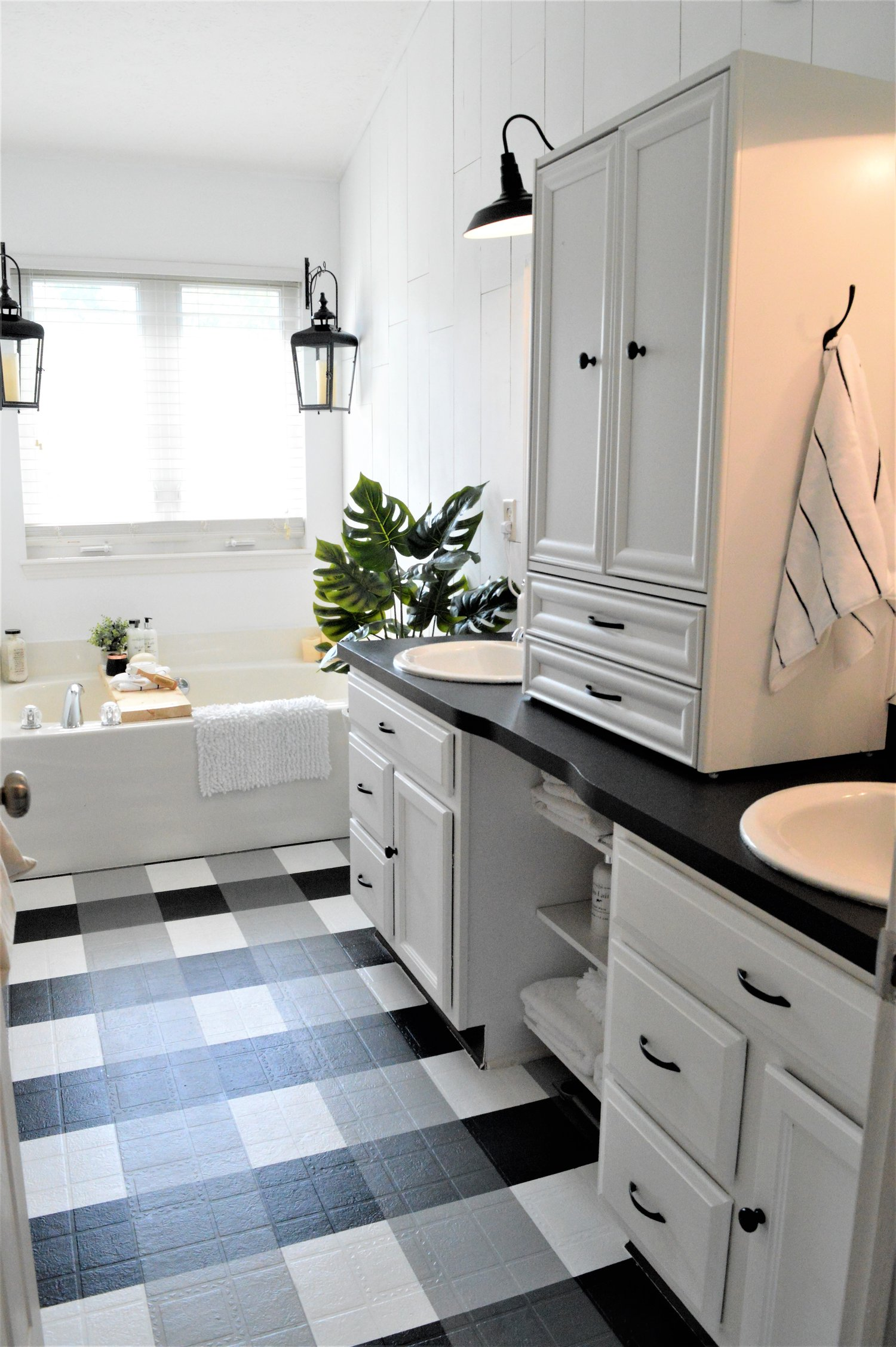 The Other Side Of Neutral Budget Bathroom Makeover with Painted Floor Tutorial