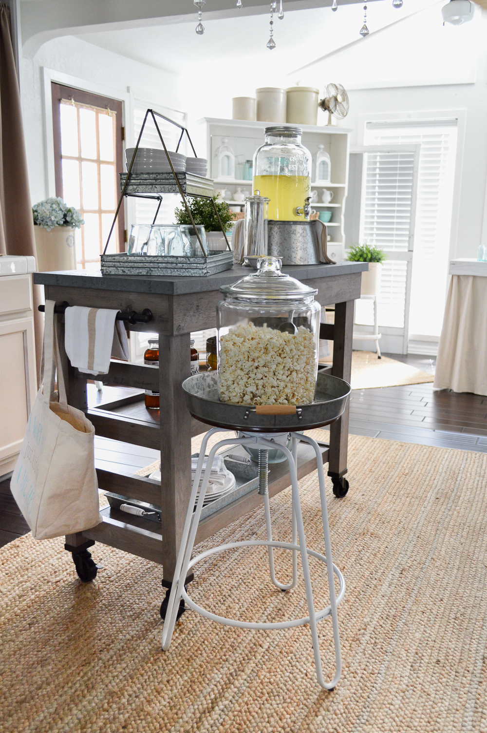 modern farmhouse multi purpose cart kitchen island as movie night snack bar cart at foxhollowcottage - Farmhouse Kitchen Island