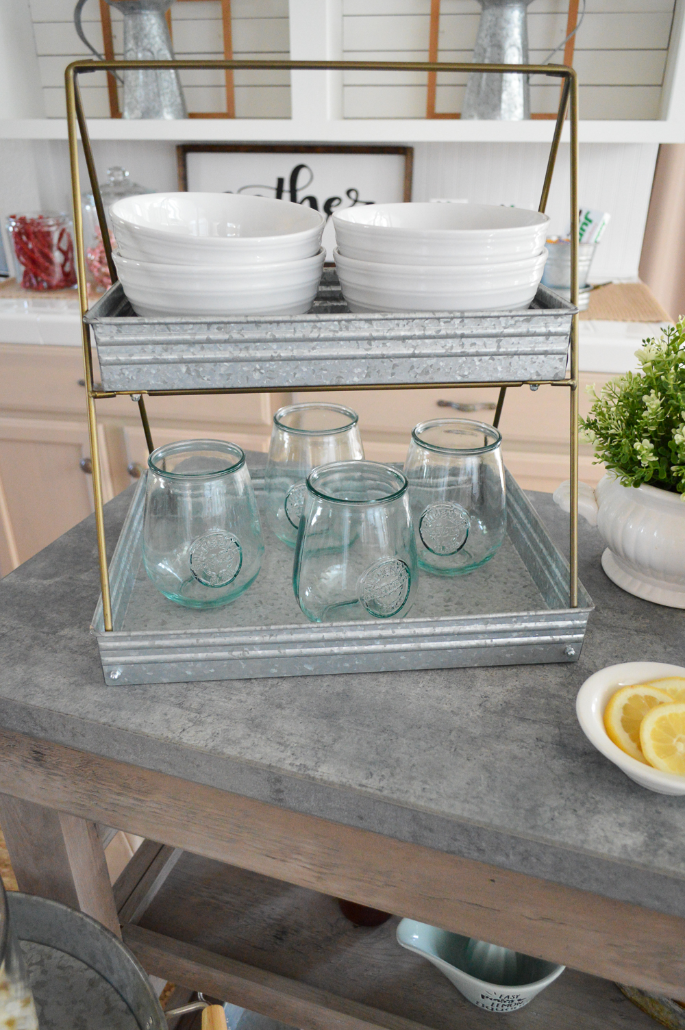 Modern Farmhouse Multi Purpose Cart - Kitchen Island as Movie Night Snack Bar Cart at foxhollowcottage.com