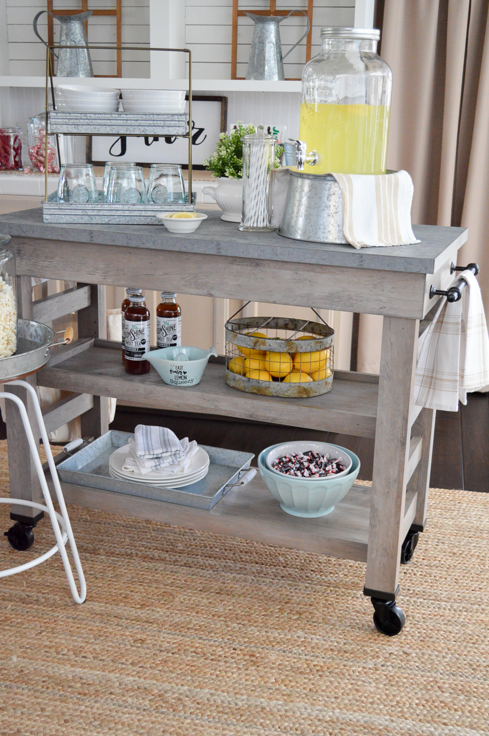 Modern Farmhouse Multi Purpose Cart   Kitchen Island As Movie Night Snack  Bar Cart At Foxhollowcottage