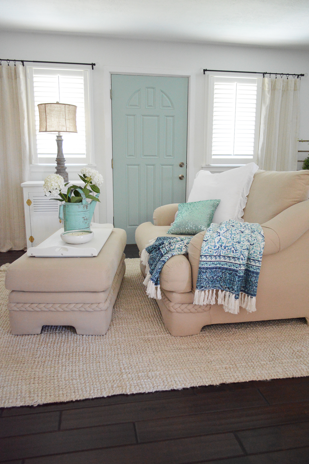 Easy, coastal cottage style home decorating ideas - www.foxhollowcottage.com - Aqua Painted Interior Front Door