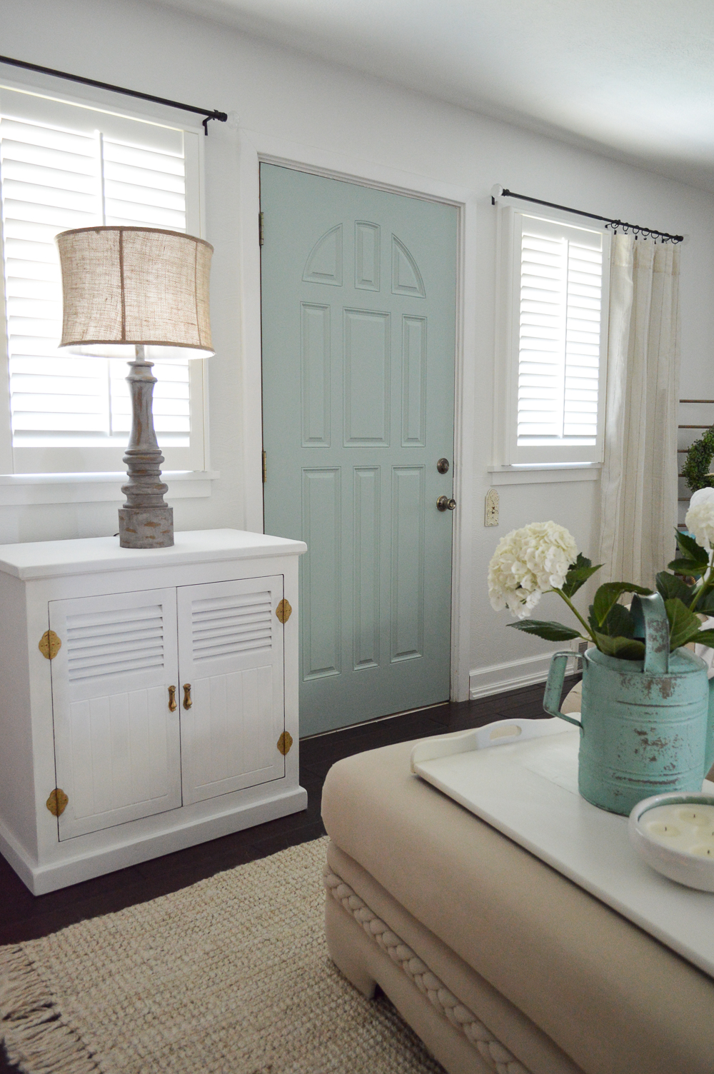 My New Improved Wythe Blue Aqua Front Door - www.foxhollowcottage.com - Summer coastal cottage home decorating