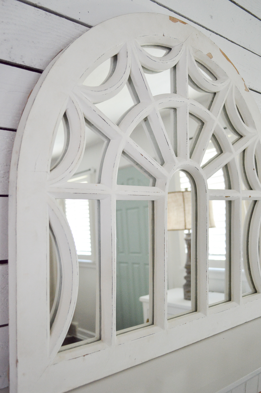 My New Improved Aqua Front Door - www.foxhollowcottage.com - White wood arched mirror