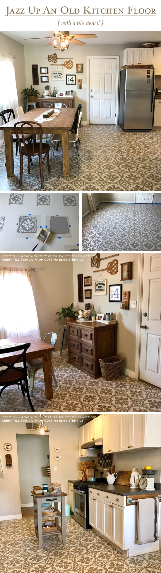 Geometric Painted Floor Makeover At Brown Acres. Cutting Edge Stencil  Design Painted Kitchen Floor ...