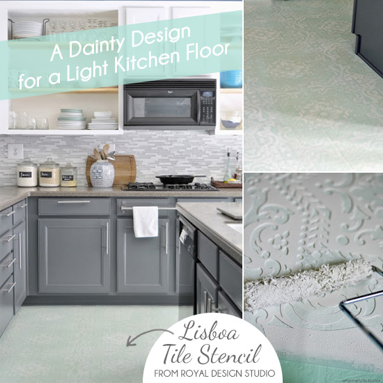 STENCILING A LINOLEUM FLOOR IN A HOME FULL OF COLOR by Royal Design Studio Stencils