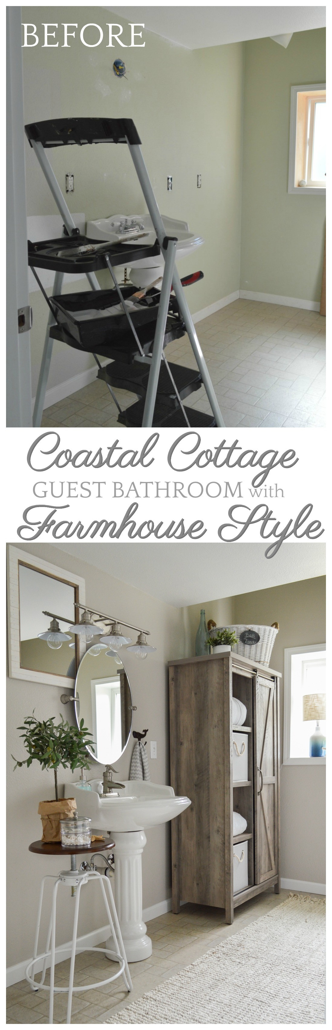 Painting Bathroom Tiles Better Homes And Gardens the little cottage bathroom makeover - fox hollow cottage