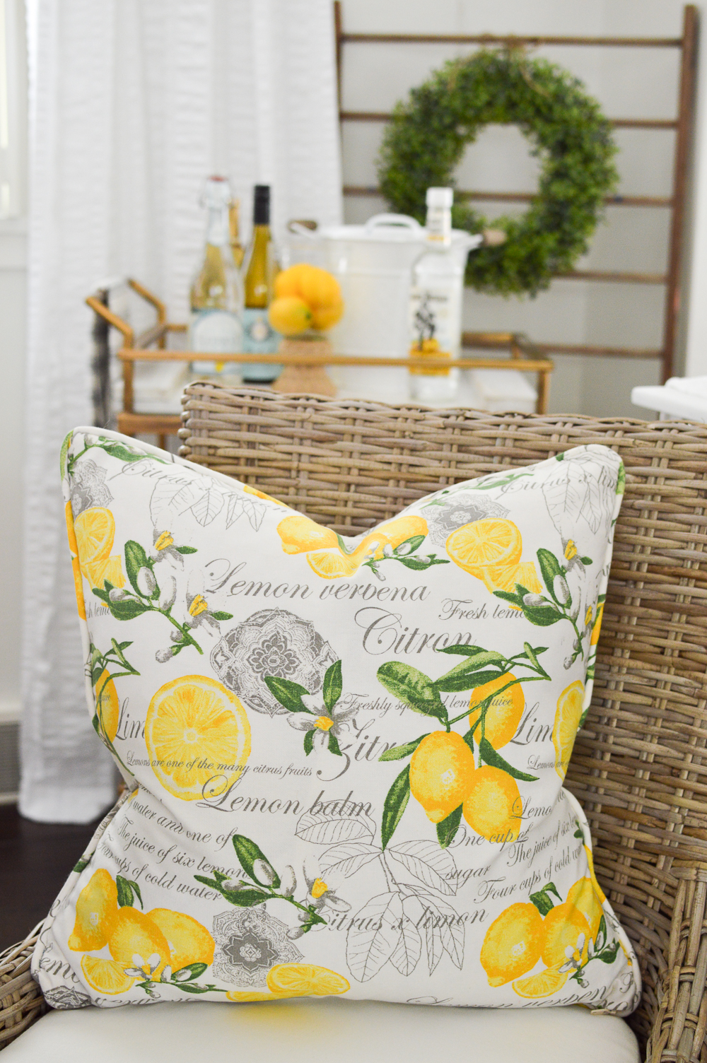 Simple Summer Decorating Home Tour - Lemon pillow