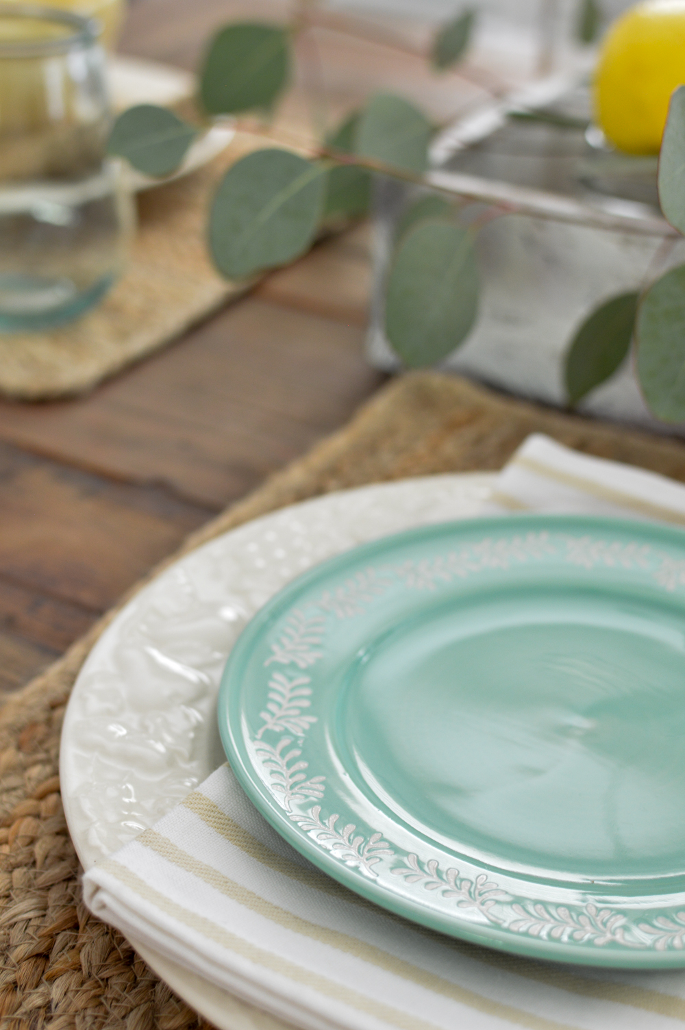 Natural elements, simple farm table decorating - white and aqua plates