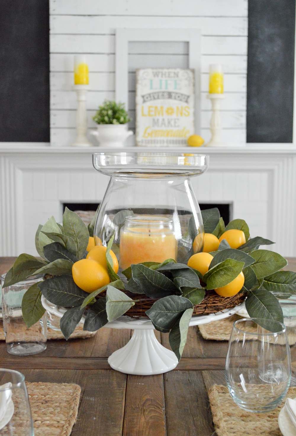 Vintage milk glass and lemon wreath centerpiece - Layer with a candle and vase for a quick dining table decor solution