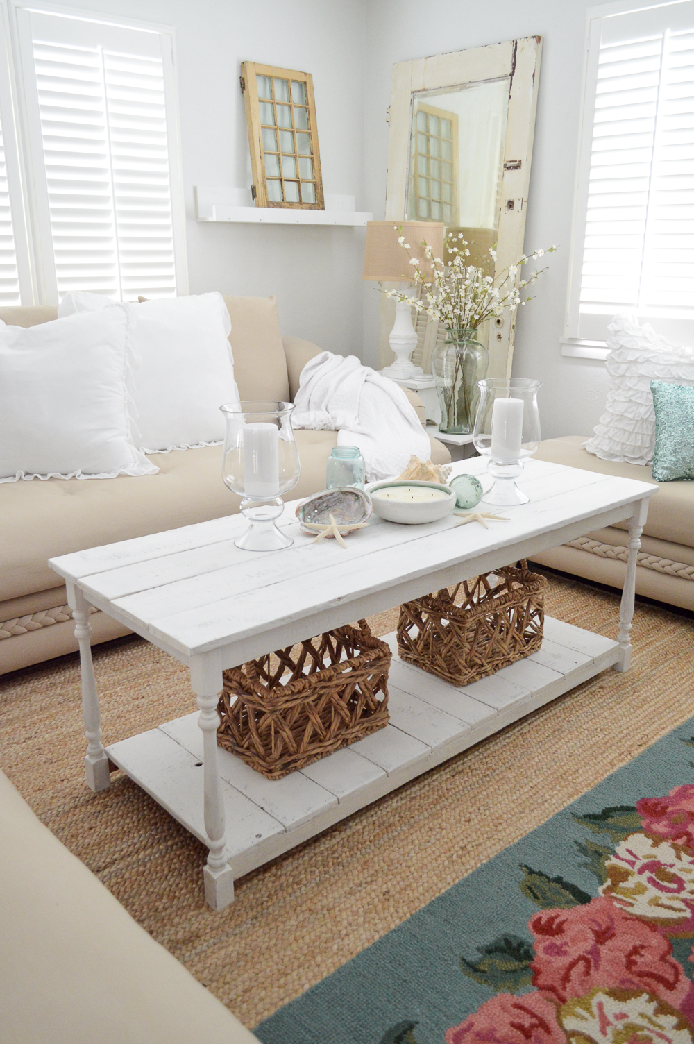 DIY white painted wood coffee table. Coastal cottage style home decorating | www.foxhollowcottage.com Simple Summer Decorating Ideas and Home Tour