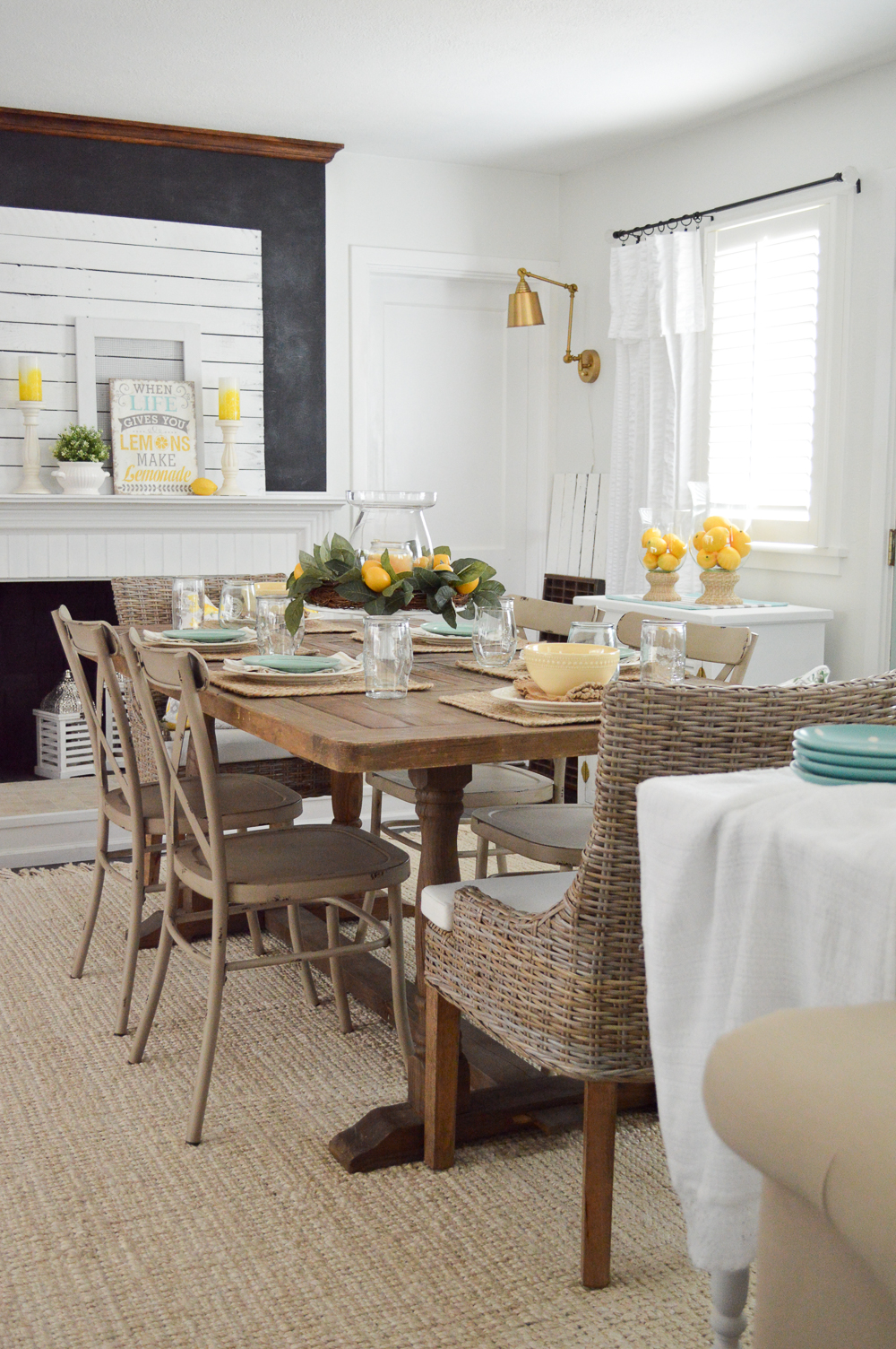 Cottage Summer Home Tour - Farm table, lemon decor, chalkboard firplace, brassy gold wall sconce