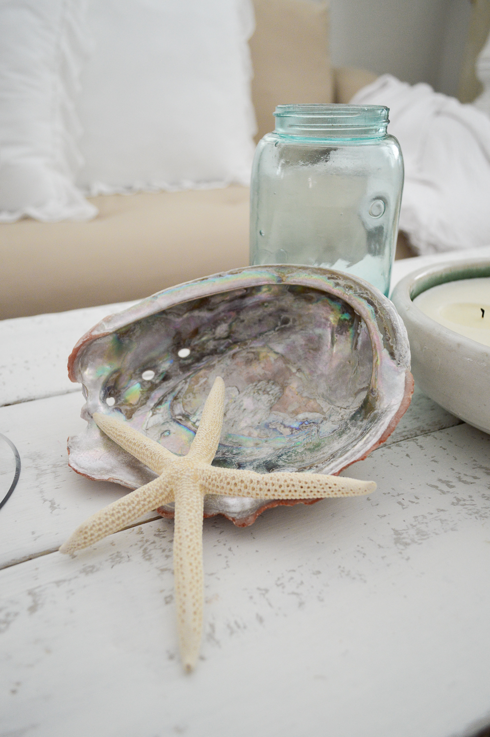 Vintage aqua ball mason jar, abalone sea shells and starfish