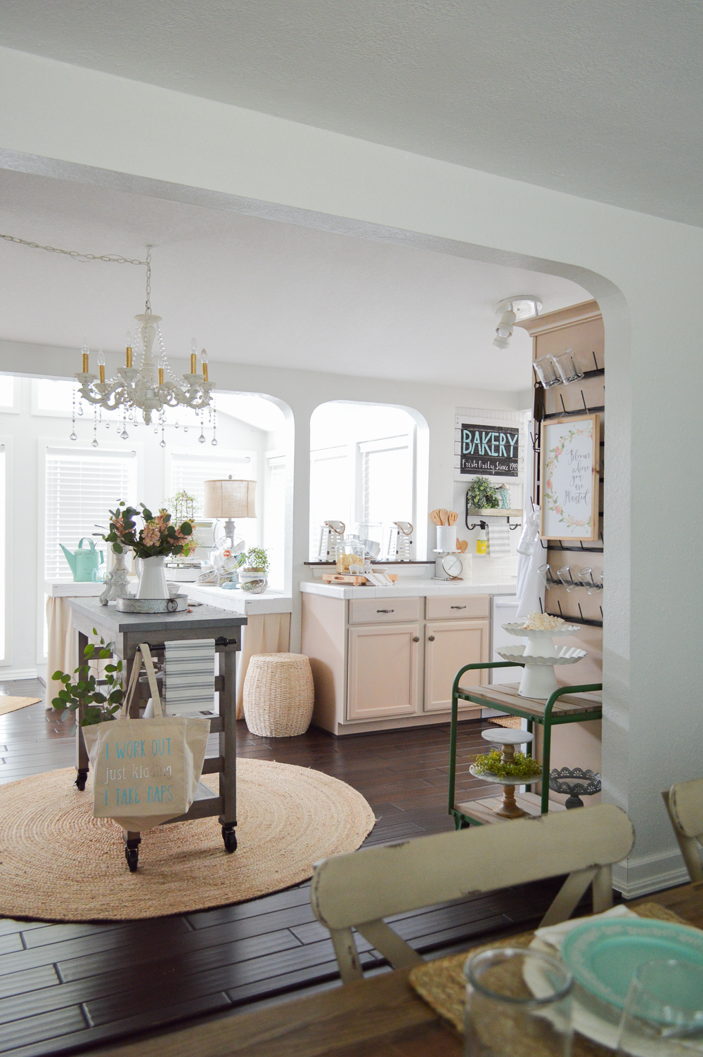 Simple Summer Decorating Ideas and Home Tour - cottage kitchen with modern farmhouse island cart and shabby chandelier