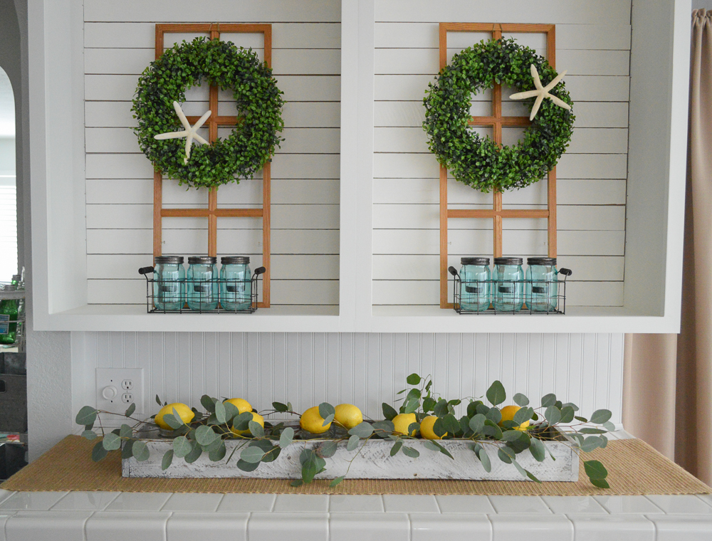 Simple Summer Decorating Ideas and Home Tour - lemon and greenery trough box