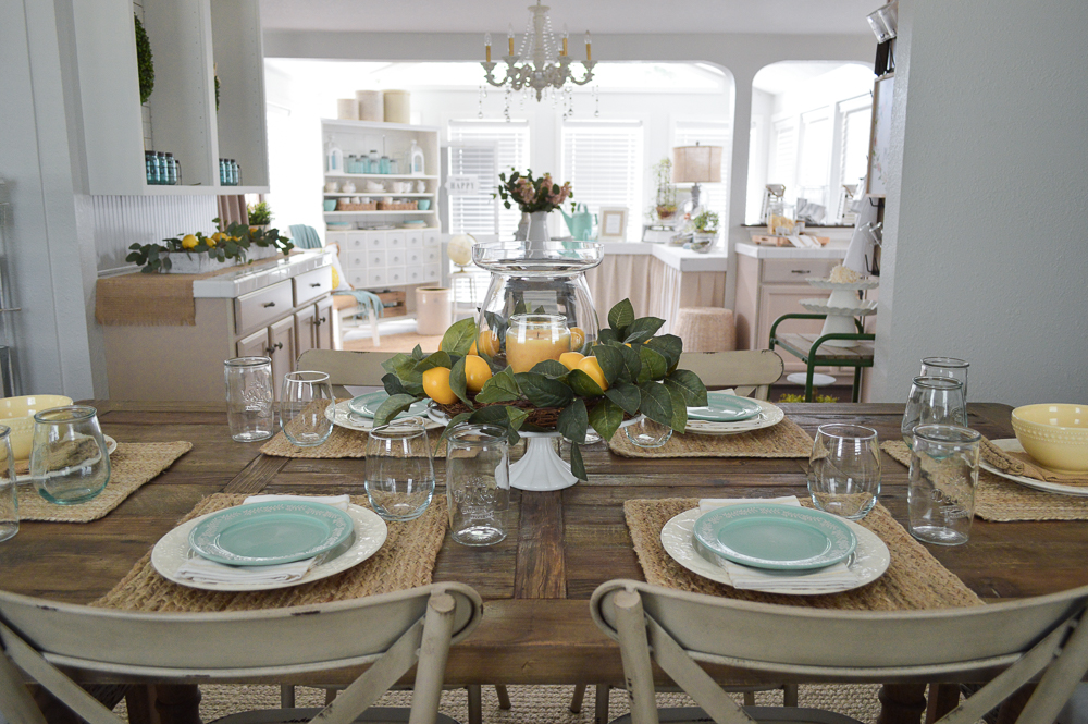 Farm table with lemon centerpiece