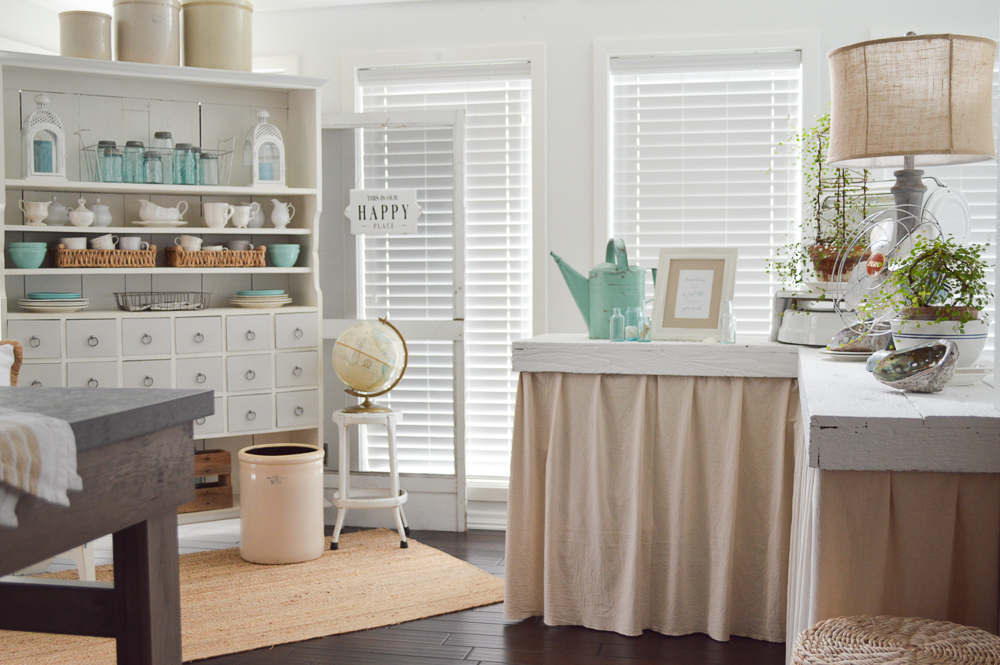 Simple Summer Decorating Ideas and Home Tour - apothecary cabinet, sun room, wood floors, seasonal decor