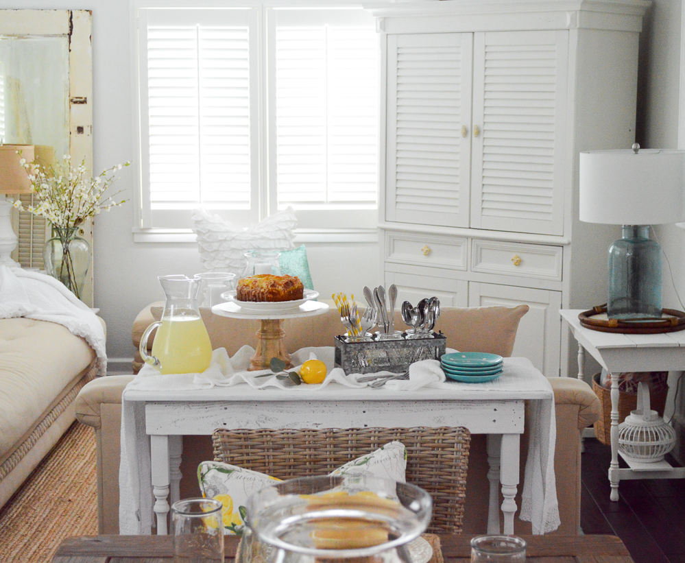 Create a makeshift buffet or server with a console table!