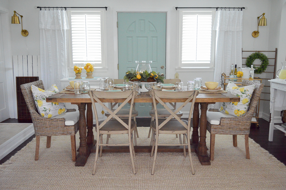 cottage farmhouse summer home tour - easy simple affordable decorating ideas - farm table with lemon centerpiece