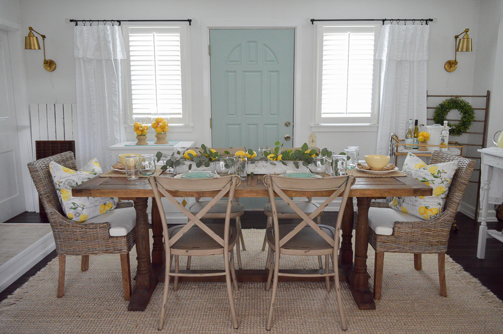 Coastal cottage farmhouse style - Farm table centerpiece ideas with Lemons - Simple Summer Decorating Home Tour