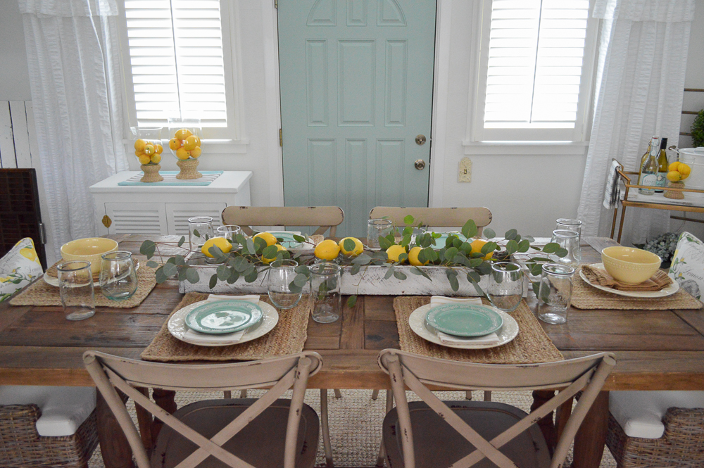 Simple Summer Decorating Home Tour - farm table with lemon trough box centerpiece