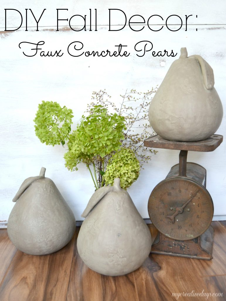 Easy Faux Concrete Fruit Pear Home Decor Tutorial. Visit For More Neutral Fall DIY Craft and Decorating Ideas