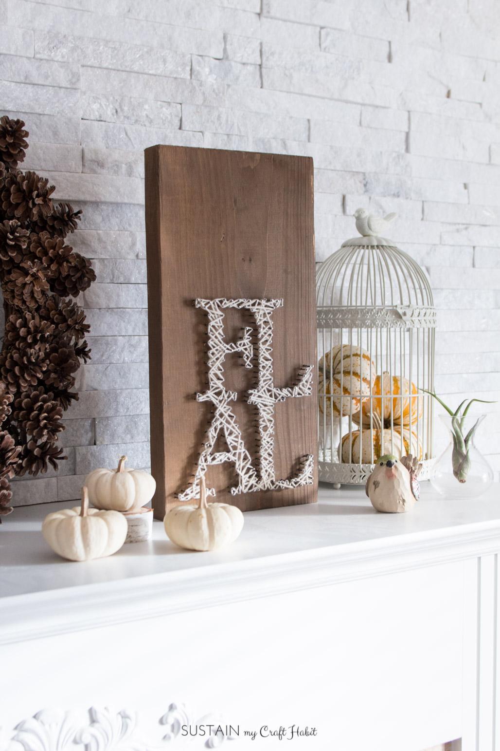 Neutral Fall DIY Craft and Decorating Ideas - DIY Wood FALL String Word Art