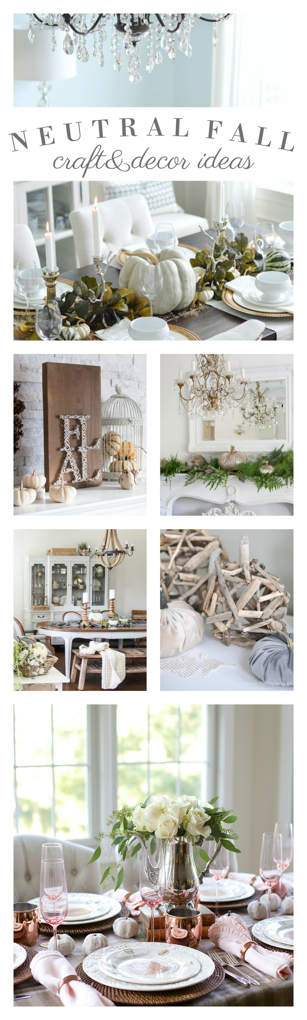 Neutral Fall Home Decor and Craft Decorating Ideas