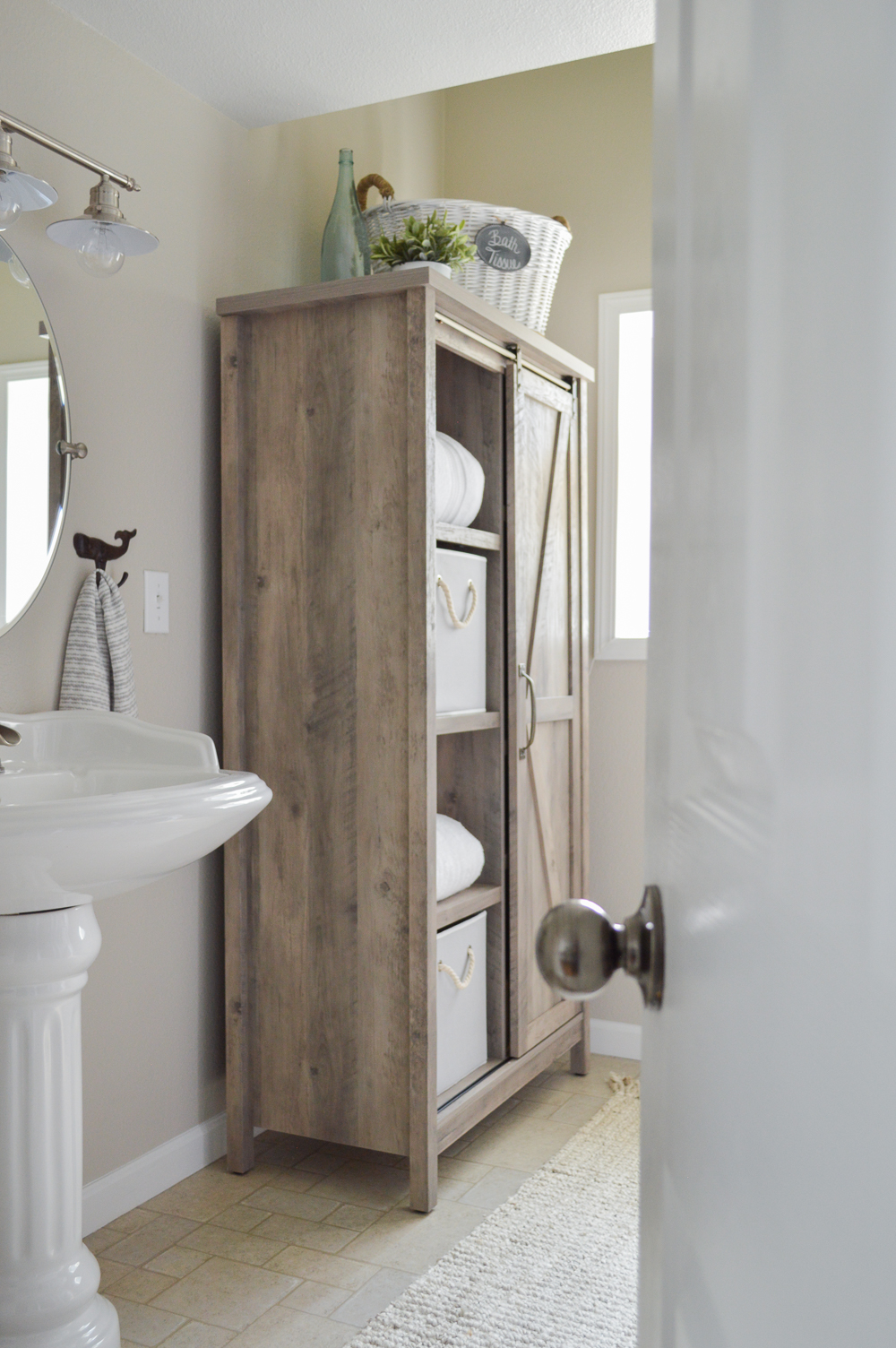 The Little Cottage Bathroom Makeover at Fox Hollow Cottage - Coastal cottage farmhouse blend with Better Homes & Gardens