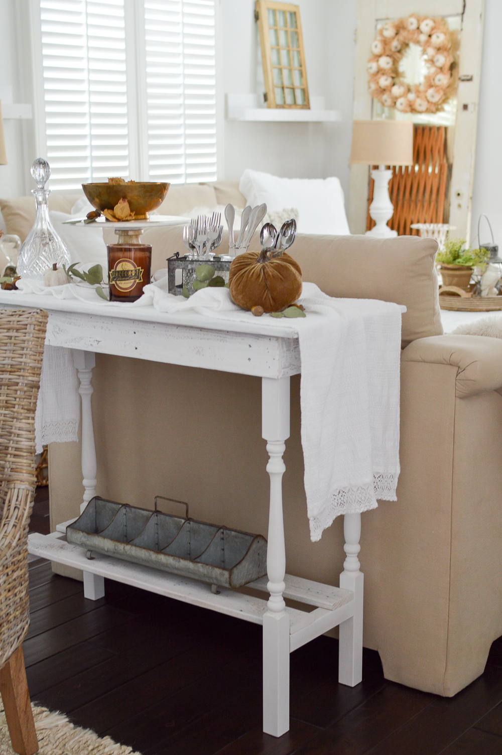 DIY white wood pallet table - versatile furniture as a serving buffet! Fall dining room. Vintage cottage, farmhouse style home decorating.