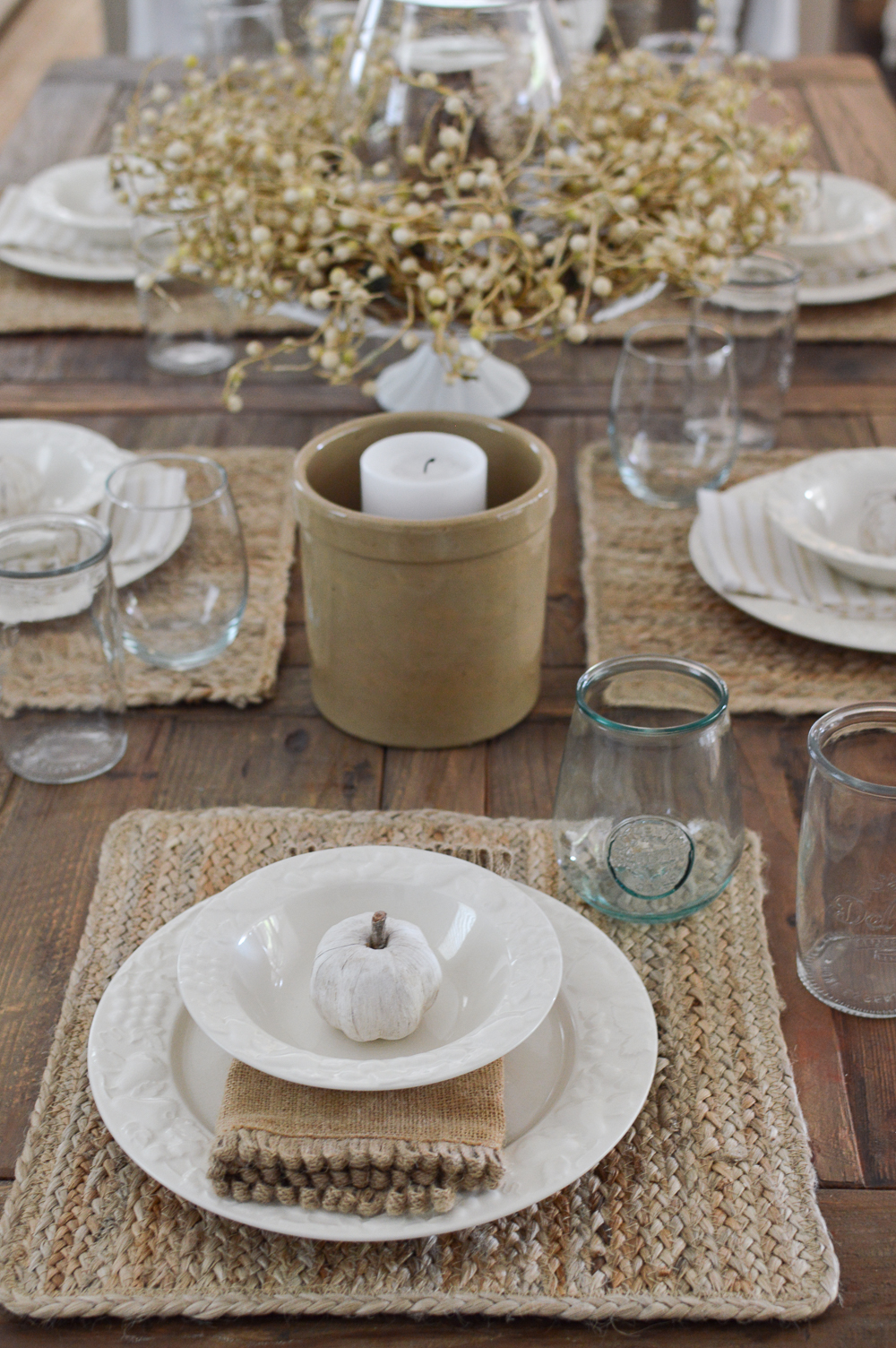 Simple Fall Dining Room Decorating Ideas - Farm table with Natural Elements and Neutral Decor
