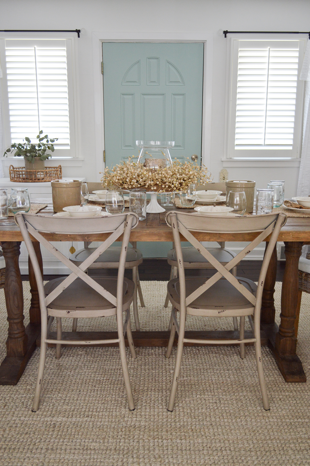 Easy Summer to Fall Dining Room Decorating Ideas - Cottage farmhouse, farm table, centerpiece, aqua door.