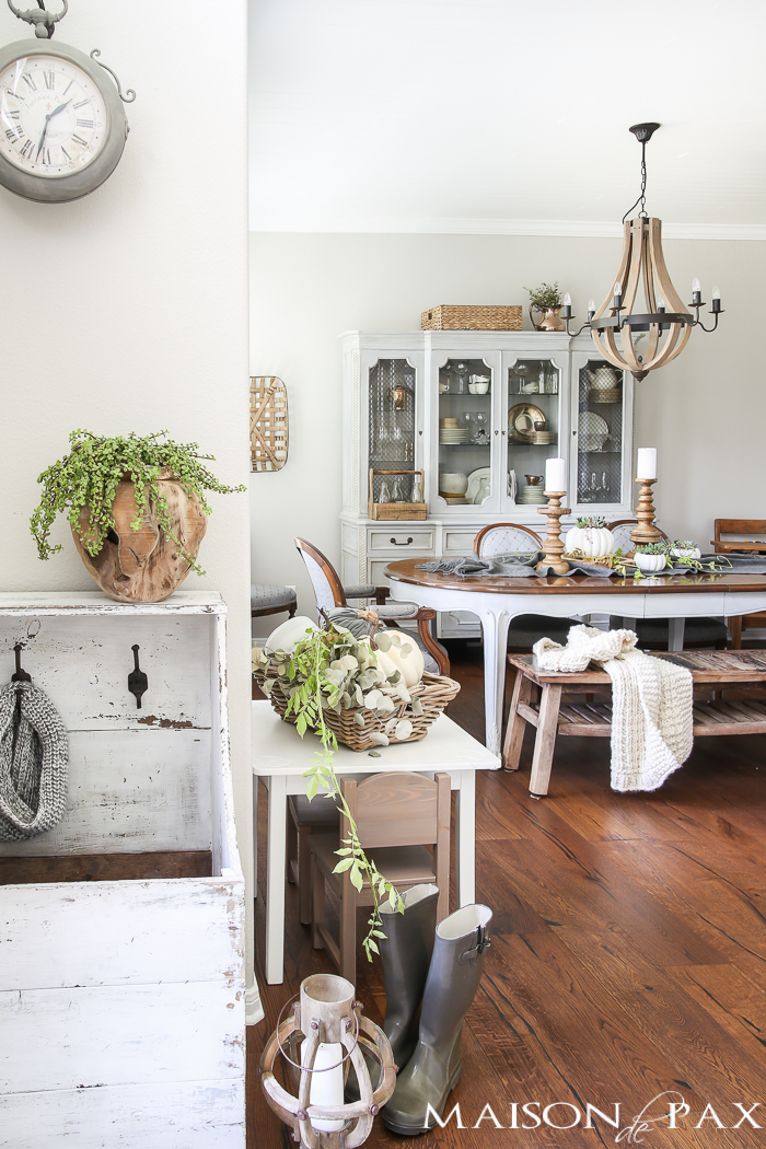 Beautiful French Country Farmhouse Home Tour, with Neutral Fall DIY Craft and Decorating Ideas