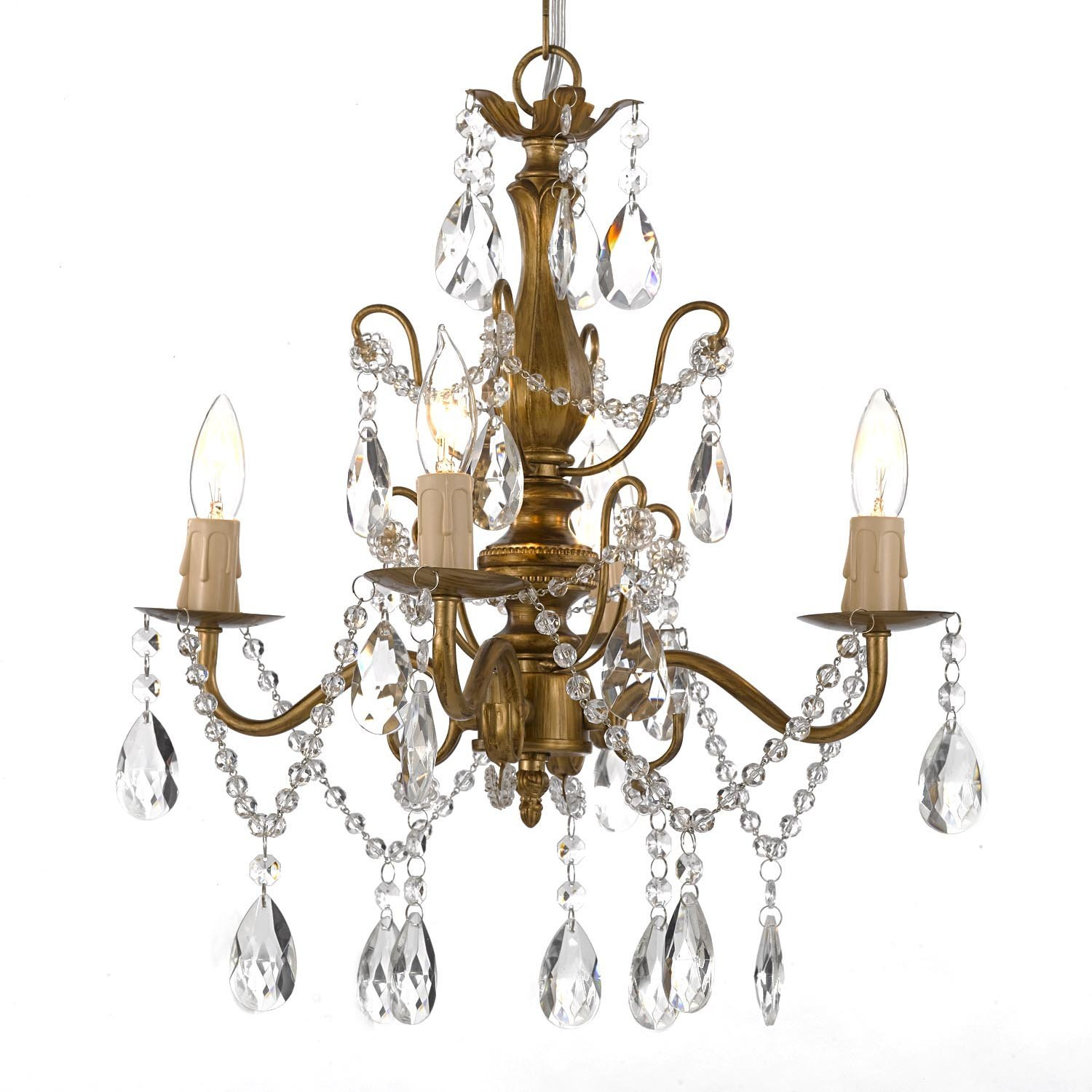 Mini vintage style brass gold crystal chandelier - hard wire or plug in