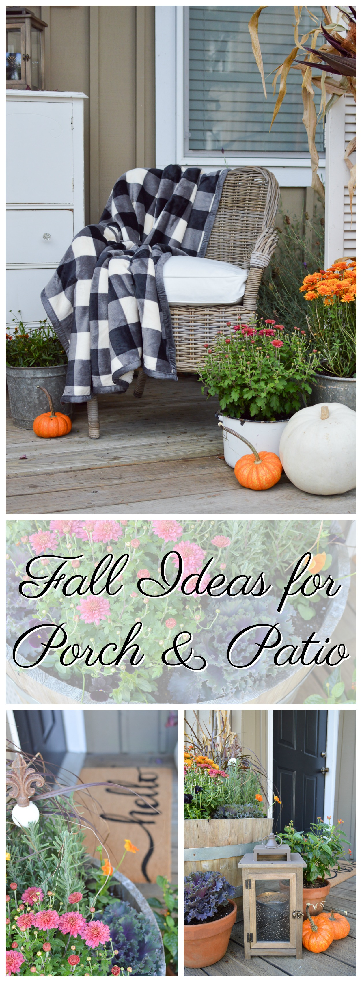 Make a small patio or porch a relaxing destination with flowers, lanterns for ambiance and a cozy spot to sit! Perfect for Fall, complete with Mums and pumpkins. Sponsored with Better Homes & Gardens #BHGLiveBetter