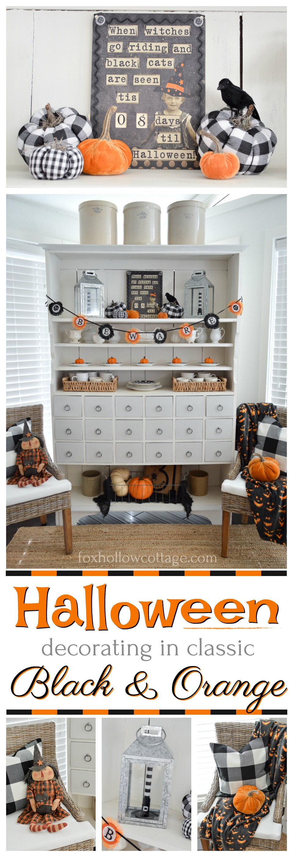 Classic black & orange Halloween decor decorating ideas - @HomeGoods vintage BEWARE banner garland, holiday countdown - Fox Hollow Cottage style - sponsored pin