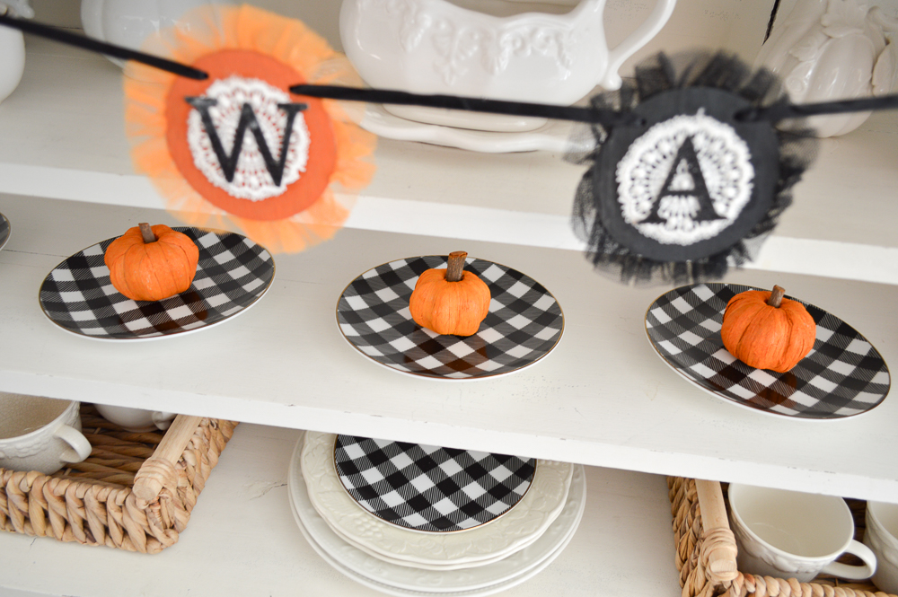 Classic Black and Orange Halloween Decorating -Fox Hollow Cottage - Apothecary Cabinet, Sun Room - Cottage Farmhouse Holiday Decor