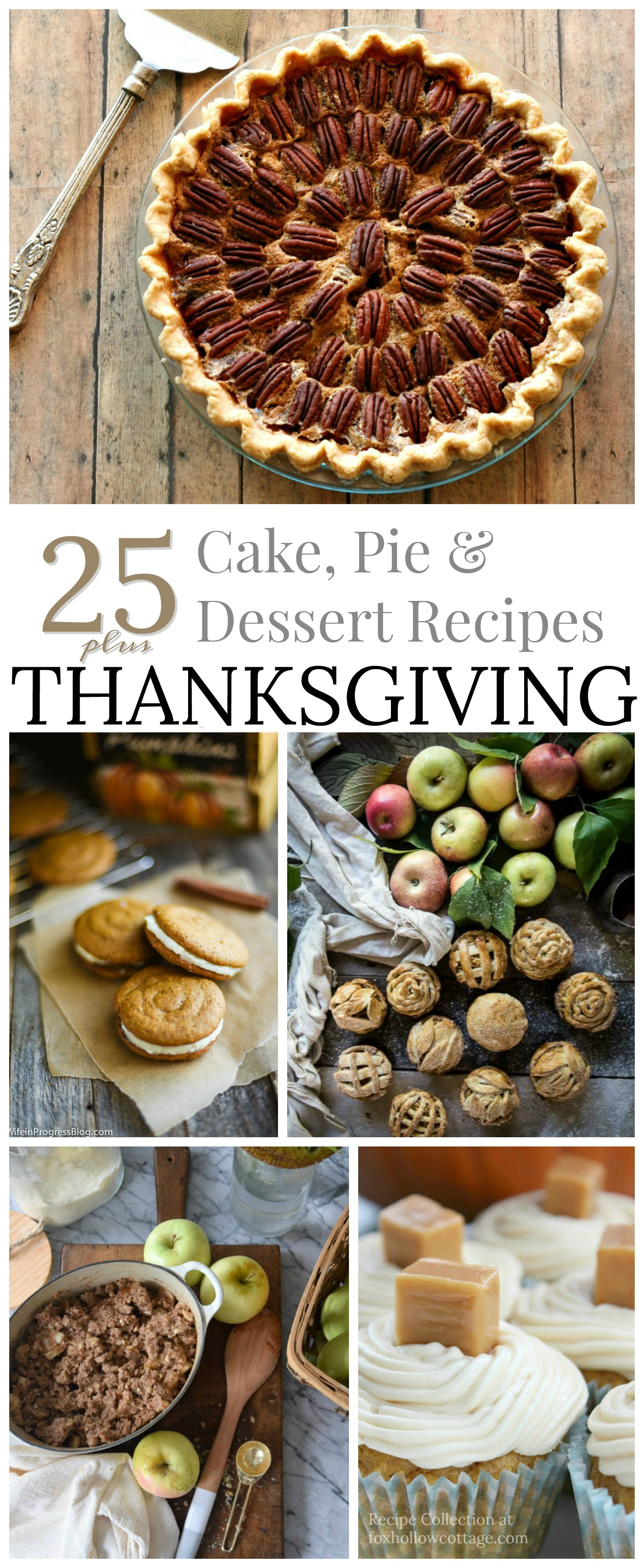 25 plus Cake Pie Dessert recipe ideas for your Thanksgiving Table - Full of Fall flavor, including cupcakes, biscotti and more... foxhollowcottage.com