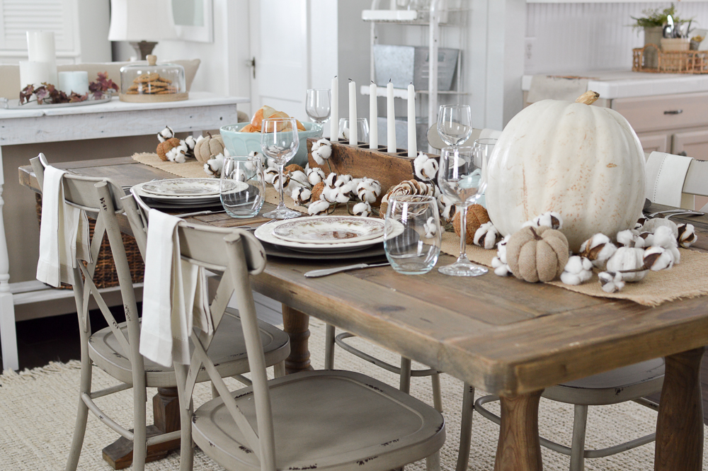 Cottage Farmhouse Thanksgiving Turkey Tablescape  - Easy Casual Farm Table Setting - Small House Living at www.foxhollowcottage.com